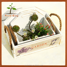 Europe Type Style Home Furnishing Storage Box Custom Wood Hanging Flower Basket