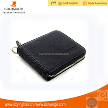 Full grain genuine leather material casual vintage stype small men's wallet with zipper