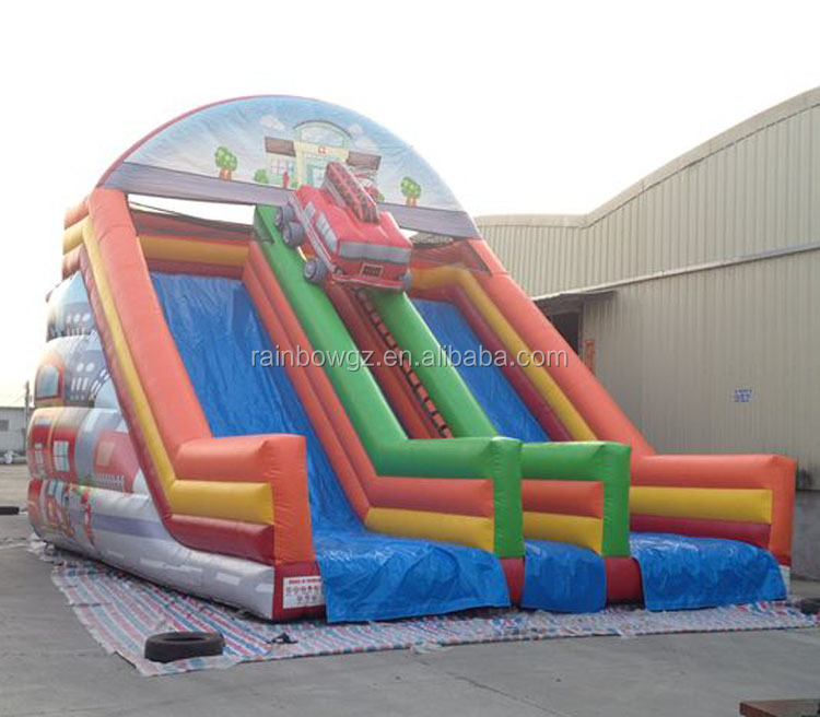 Firemen Theme China Fire Truck Inflatable Double Lane Slip Slide