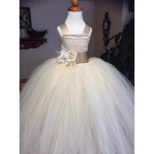 FW004 Lace Flower Girl Dress O-neck Elegant Comunion Pageant Dresses For Girl With Bow Back Cheap Wedding Party Child Gown