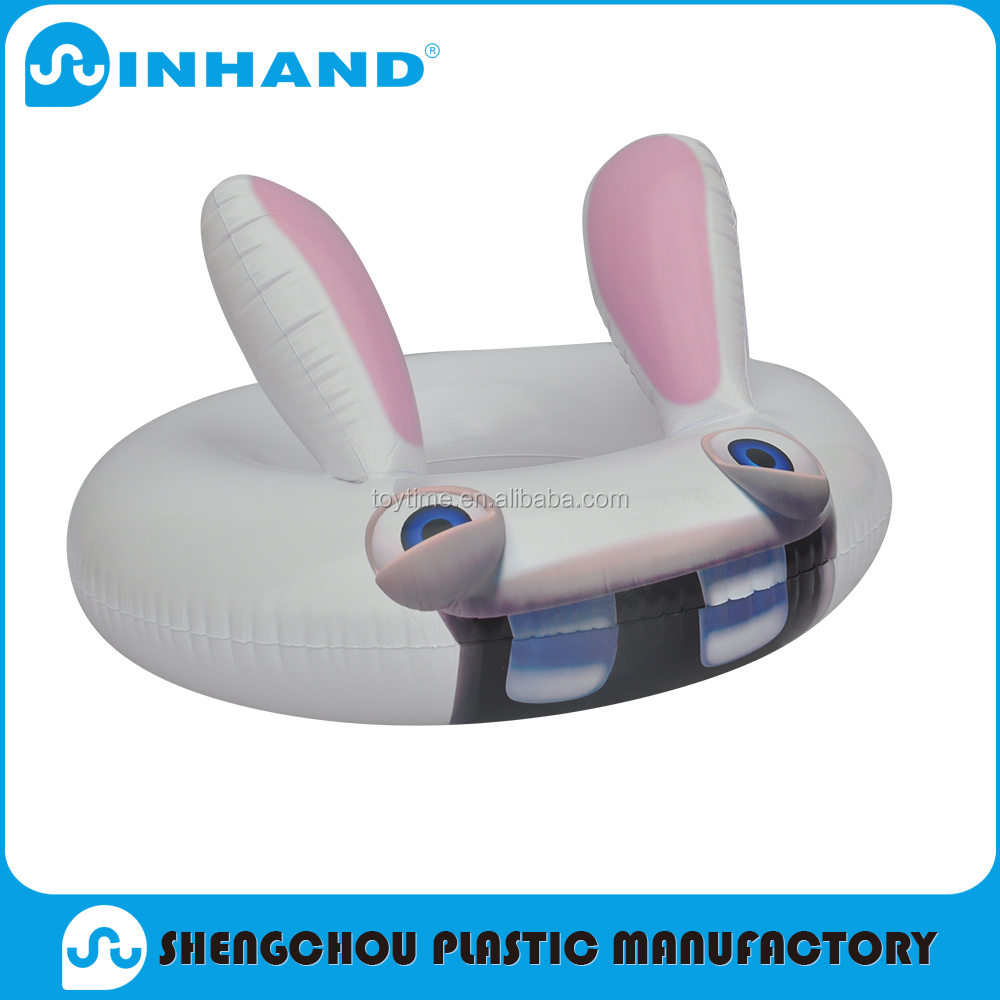 ICTI customised Swimming ring, cute inflatable pool float seat for kids outdoor playing