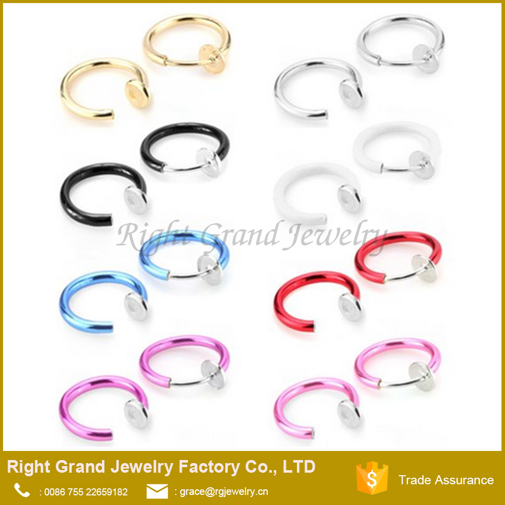 16G and 14 Gblack Stainless Steel Nose Septum Ear Hoop Ring