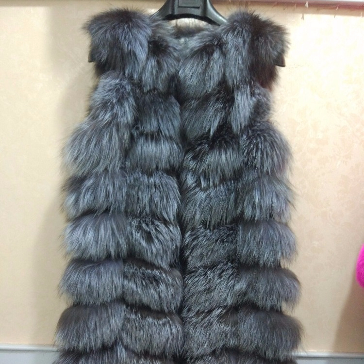 Russian Style Women Real Silver Fox Fur Vest