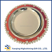 High quality blank souvenir two colors red gold round metal award blank number plate