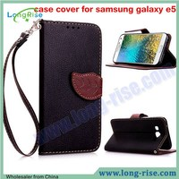 Lichee Pattern Leaf Magnetic Wallet Leather Slim Flip Case Cover for Samsung Galaxy E5 Case with Strap