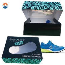 Display Storage Packaging Paper Folding Custom Printed Cardboard Clear Drop Front Foldable Shoe Box For Children Design