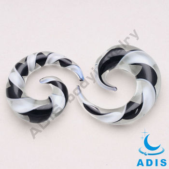 Pyrex glass ear expander plugs piercing with black and white
