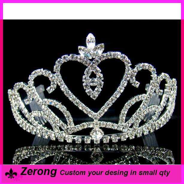 Shiny wholesale pageant silver crystal hair comb bridal tiara crown