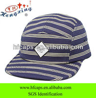 Stripe printed custom cheap baseball snap back flat cap
