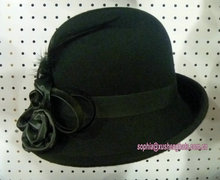 Fashion Ladies Black Wedding Dress Winter Felt Hat Wholesale Price