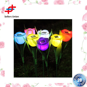 Lovely Decorative LED Landscaping Solar Power Garden Lights Colorful Flower Tulip Lamp