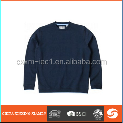 Pullover casual men knitted sweater french terry fabric jacket round neck simple style