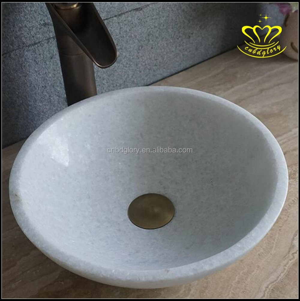 White Natural stone marble pedestal wash basin sink for sale