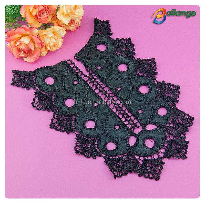 PU 2016 handmade guipure embroidery lace collar design neck trimming applique beaded embroidery collar for patterns