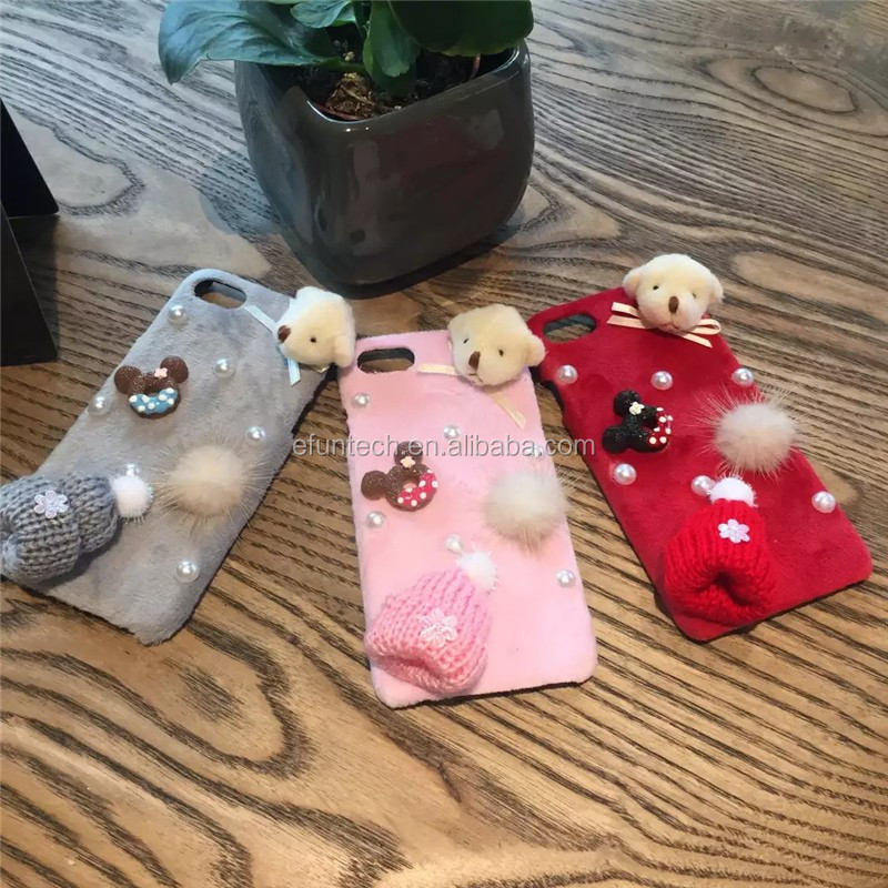 New arrival cute bear and knitted hats fuzzy mobile phone shell for iphone 7 7 plus case cover
