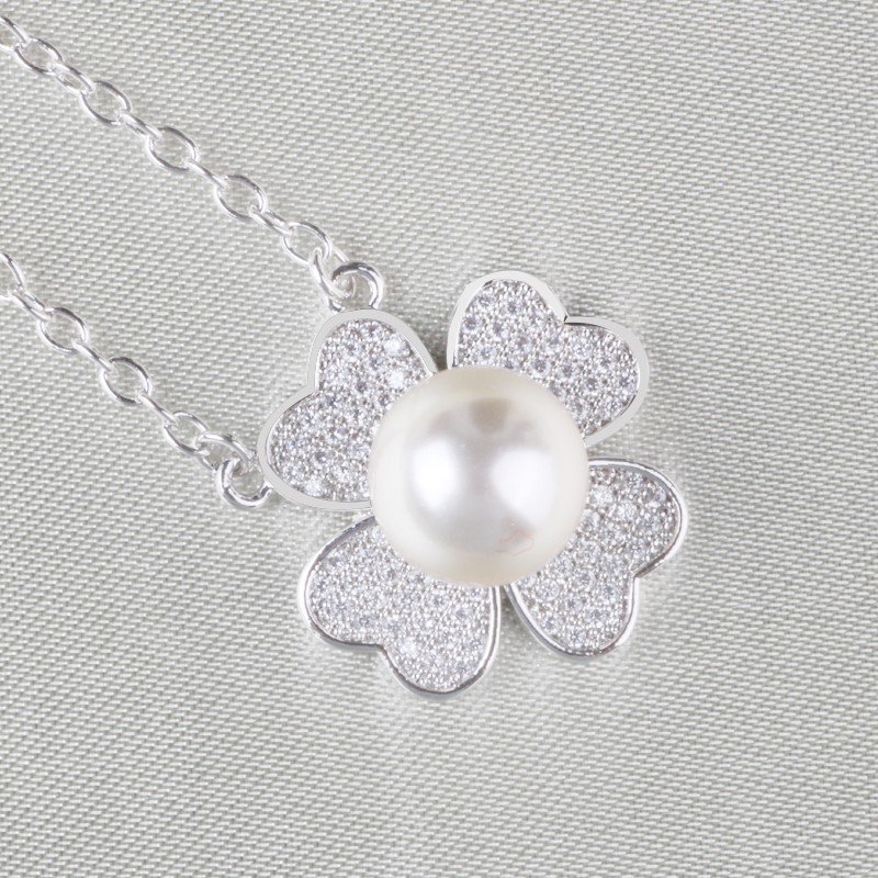 925 Silver Flower Shape Pearl Pendant Cute Necklace Wholesale