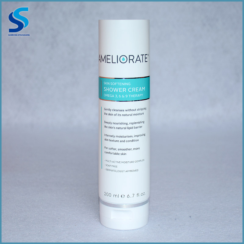 High class screen printing 200ml plastic container cosmetic tube packaging shower cream packing