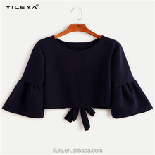 Fashionable ladies tops latest design ruffle flounced sleeves casual blouse for women