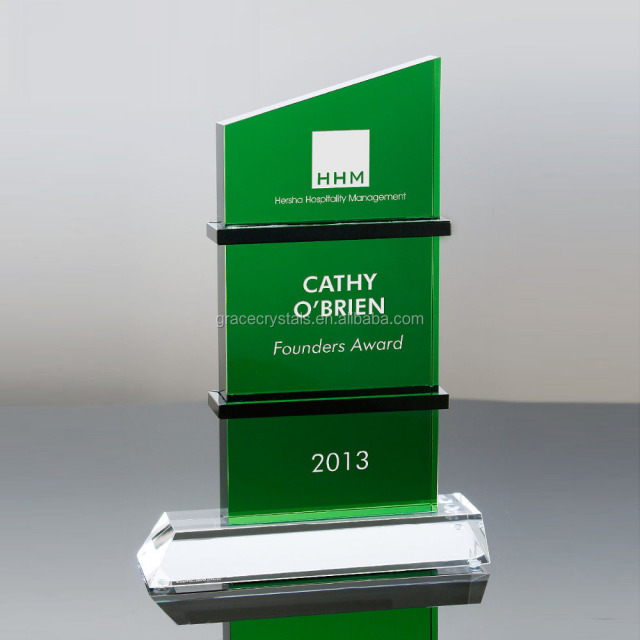 Green crystal corporate awards crystal plaque trophy