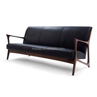 fansy style indoor wooden classic wood frame leather sofa