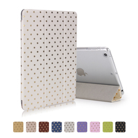 Factory Outlet Gold Star Printing Smart Leather Folio Case Flip Cover for iPad Mini 2 for iPad mini 3 for iPad mini 4