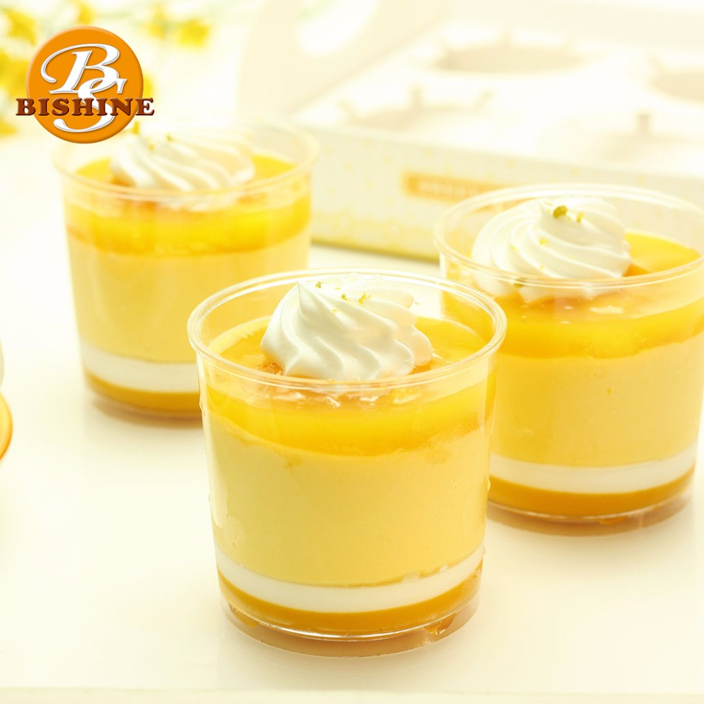 High Quality Disposable Plastic Round Shape Yogurt Jelly cupcake Mousse Cake Containers Tiramisu 4oz Dessert Cup With Lid