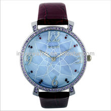 Hot sale big clear brass dial crystal luxury bezel high quality mineral glass women top classic watches BD71075