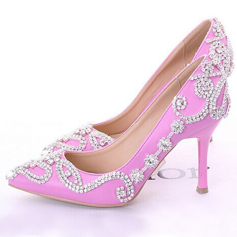 fashion pink wedding shoes pointed toe women dress shoes