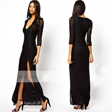 Best Selling Black Lace 3/4 Sleeve Sexy Backless Maxi Evening Dress