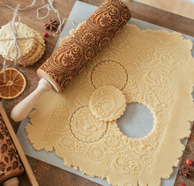 new design 100% beech wood handmade Embossed Rolling Pin flower Pattern For Baking And Cookies Customized acceptable