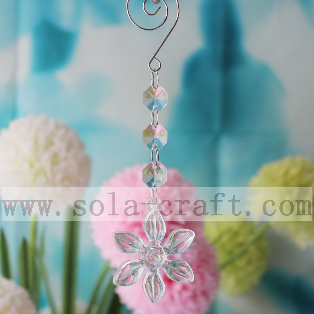 China Acrylic Chandelier Prisms Transparent <strong>Flower</strong> For Hall Decoration Lights length 17cm