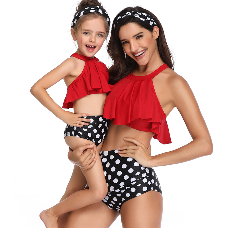 2019 New Floral Pattern Kids Mommy And Me Family Swimwear sweet sexy tiny bikini Beachwear