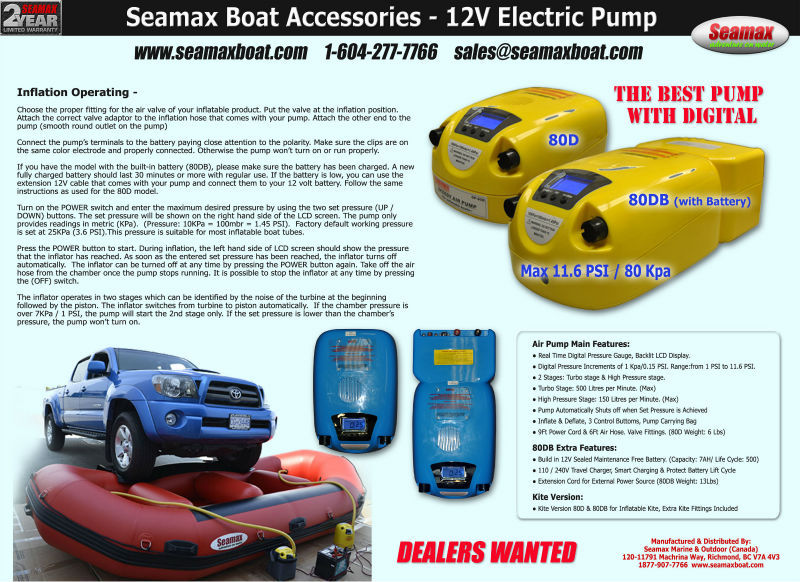 Seamax Electric Aur Pump for Inflatable Boat, Surf Board, Kite, Kayak