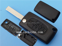 Peugeot flip remote key cover. 407 with groove blade . 3 button no battery place . no logo CE0523 wholesale