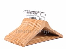 F6618N high quality classic light color wholesale wood clothes hangers