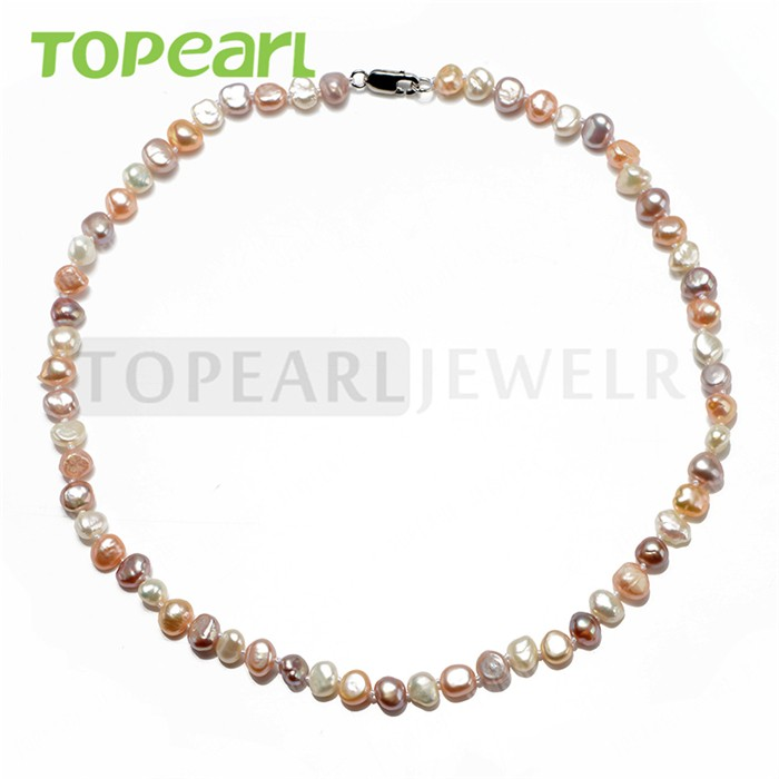 EN64 Topearl Jewelry 925 Silver Clasp Multicolor Natural Nugget Freshwater Pearl Necklace