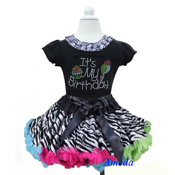 Rainbow Zebra Pettiskirt with Zebra Collar Bling Rhinestone It's My Birthday Black Short Sleeves Top 1-7Y