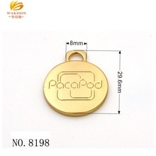 Brand Logo Stamped Custom Metal Tags Charms Pendant for Jewelry Bag Accessories