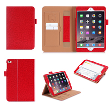 2015 New Product Card Slot Stand Function PU Leather Case for iPad mini 4