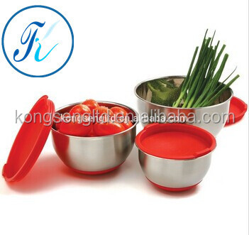 Stainless Steel Thicken Deep Mixing Salad Bowl Set with plastic lid