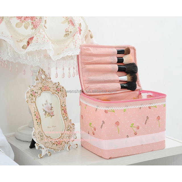 Pink Cherry Cosmetic Bag Lace Makeup Kit Handle Cosmetic Bag