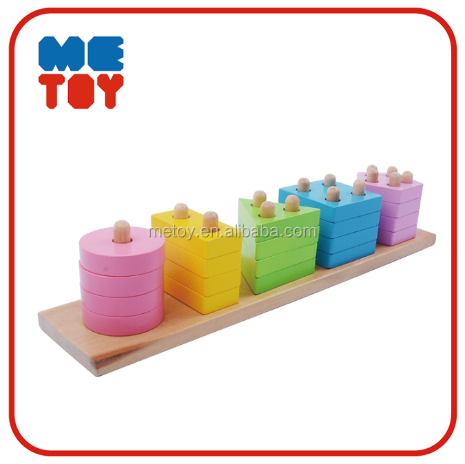 Shape sorter toy educational Wooden montessori materials in china Cylinder blocks montessori