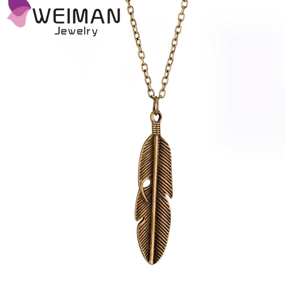 Factory directly wholesale vintage feather pendant necklace jewelry