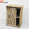 small antique wood storage cabinet with sliding door