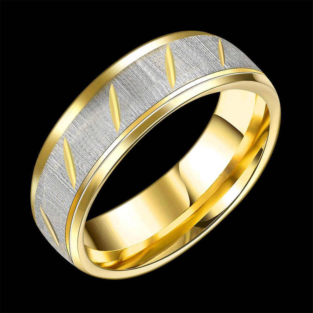 1Pc Couple Ring for Women Men 18K Real Gold Plated Engagement Wedding Rings 316L Stainless Steel 8MM Wide Classic Gold Jewellery