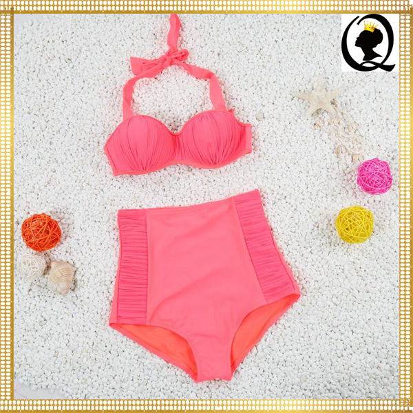 2016 Top Hot Selling New Style Cute Girls Mesh Bikini Top with High Waist Panty