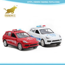 1:32 open door metal toy pull back police die cast model car with lights and music