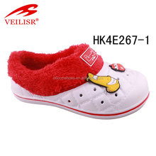 lovely kids clogs with fur,warm winter indoor clog,Unisex kids eva clogs