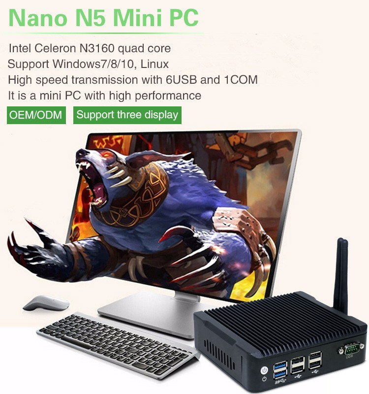 2016 Latest computer hardware linux ubuntu mini pc fanless Celeron N3160 qual core Micro desktop computer