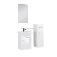 MDF hanging wall bathroom vanity cabinet with ceramic wash basin